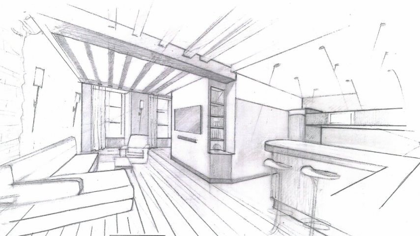 Architecture int rieur loft monge paris for Dessin architecture interieur