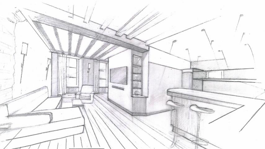 Architecture int rieur loft monge paris for Architecture dessin interieur